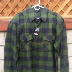 Yago Black & Green Checkered Flannel, new, unused
